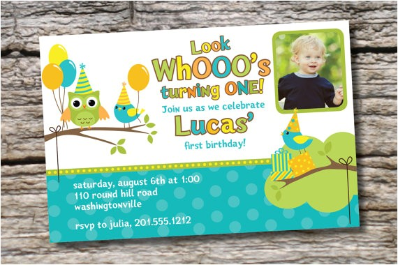 owl bird party 1st birthday invitation
