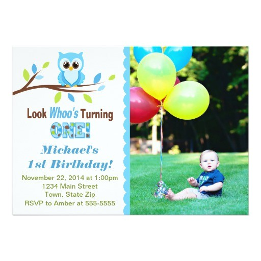 owl boy 1st birthday invitation 5x7 photo card 256009628046977741