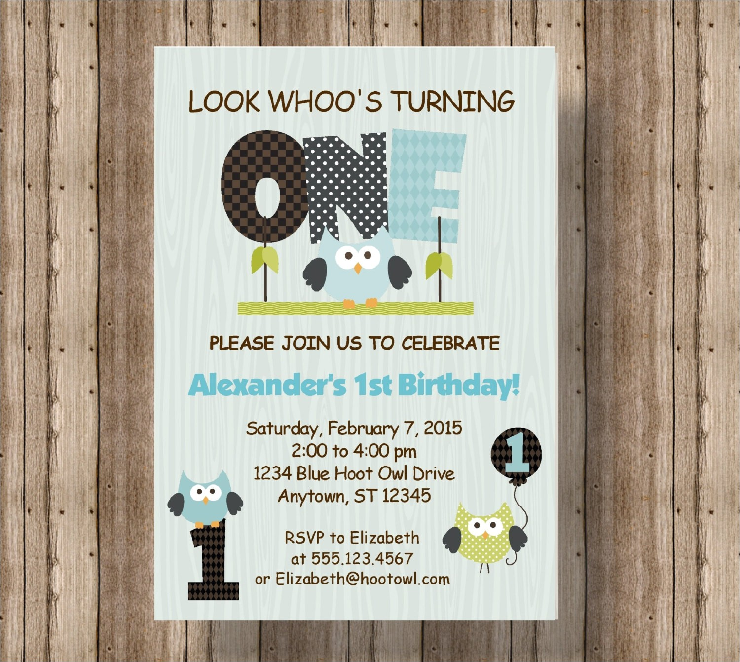 owl first birthday invitation for boys