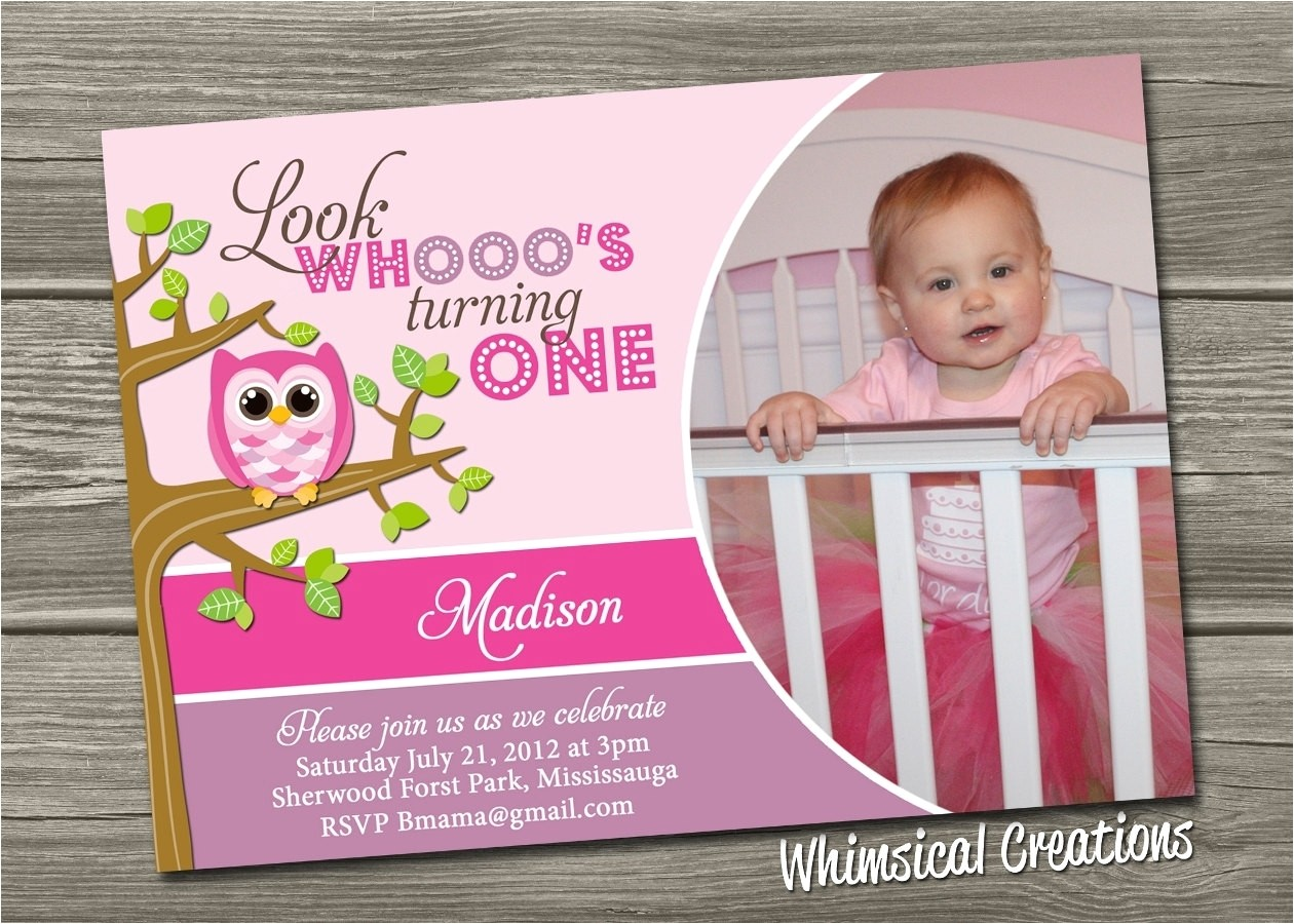 owl first birthday invitations 021547597