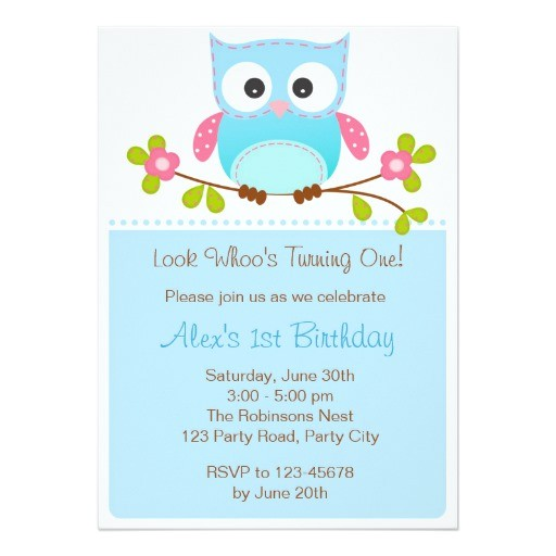 owl invitation boy 1st birthday baby shower 161483308999756184