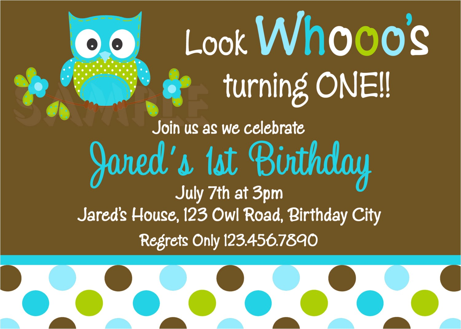 polka dots boys owl birthday invitation