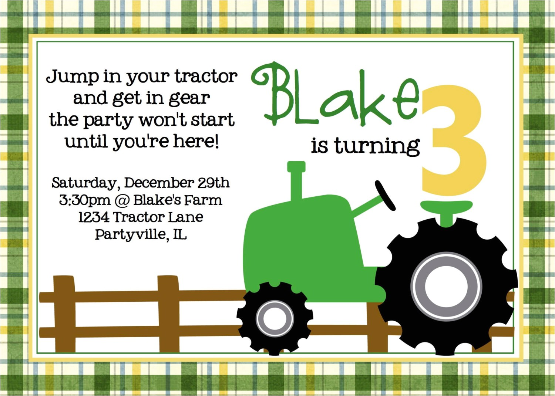 tractor birthday invitations celebrate children