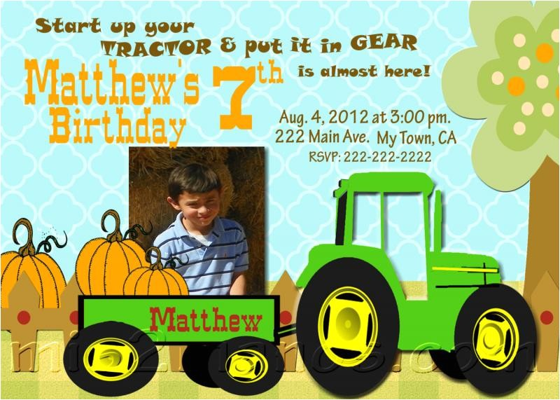 boys tractor birthday party invitations with photo other printable invites and john deere party supplies available printable diy