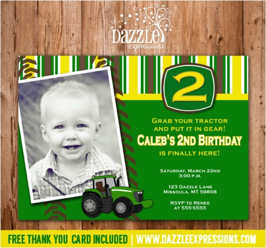 Tractor Birthday Invitation 1 Thank You Card Included