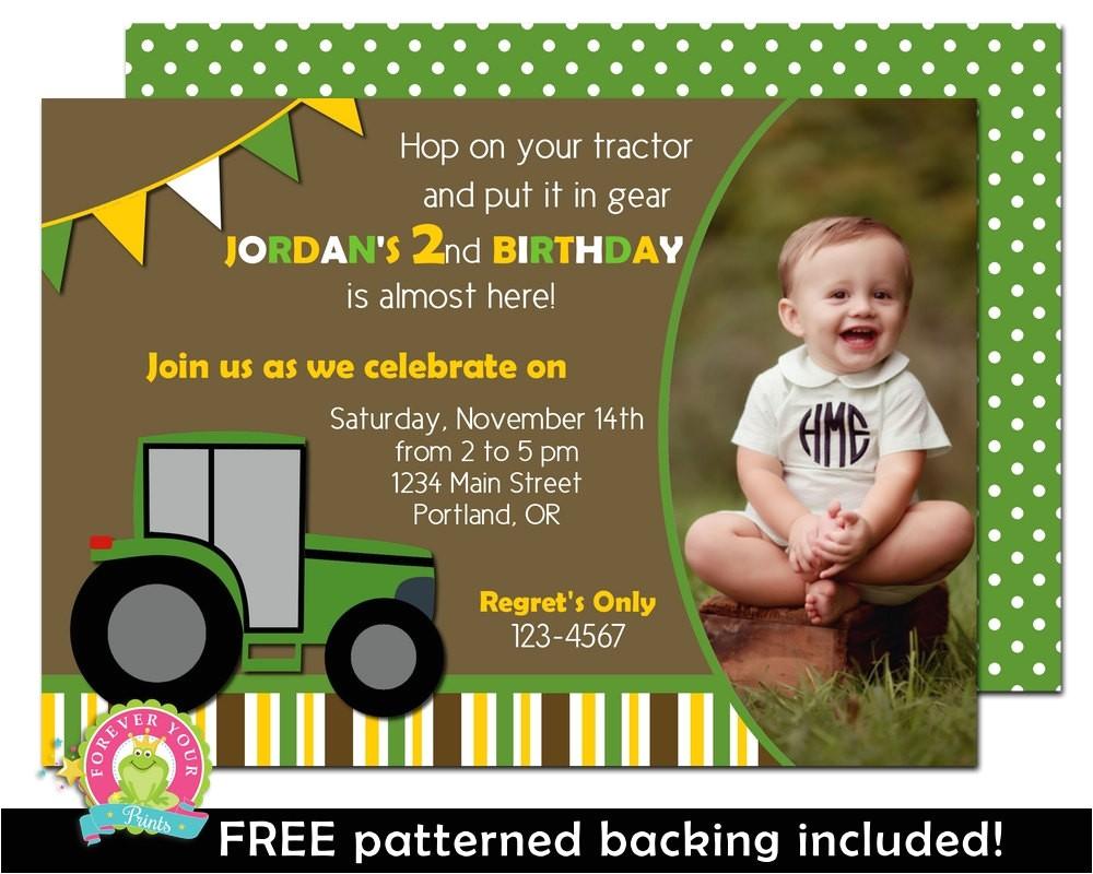 tractor birthday invitation boys