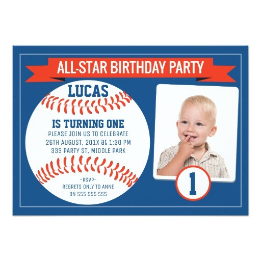 boys baseball sports 1st birthday party invitation