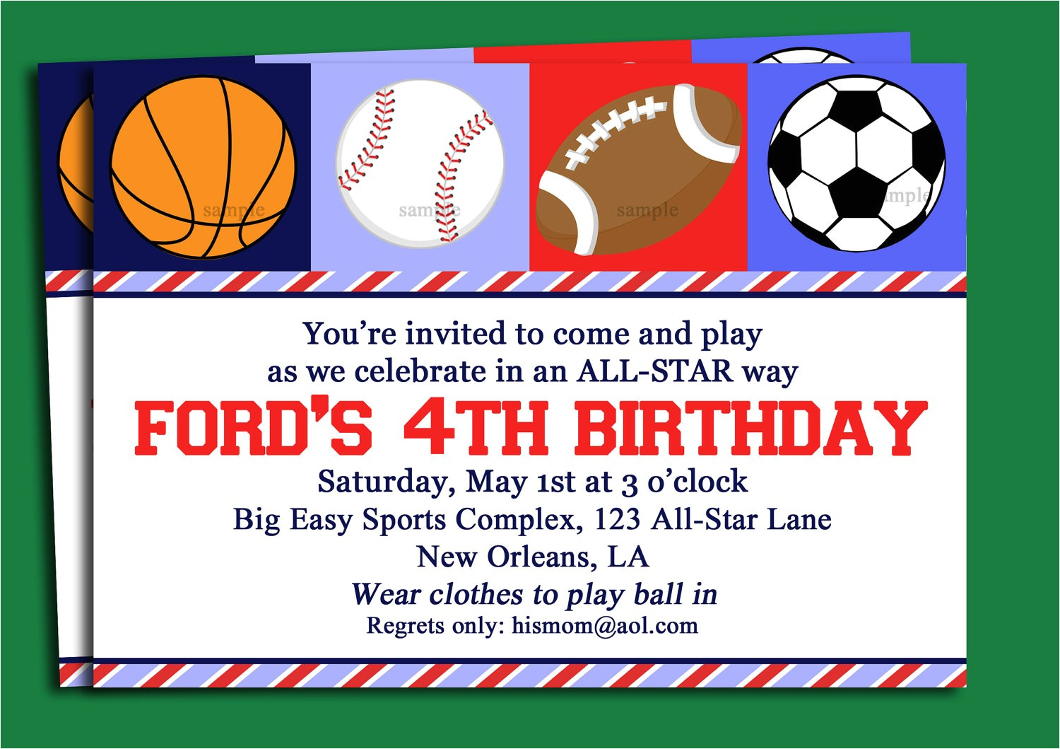 free printable sport themed birthday invitation card for boys sports with white background color and green border