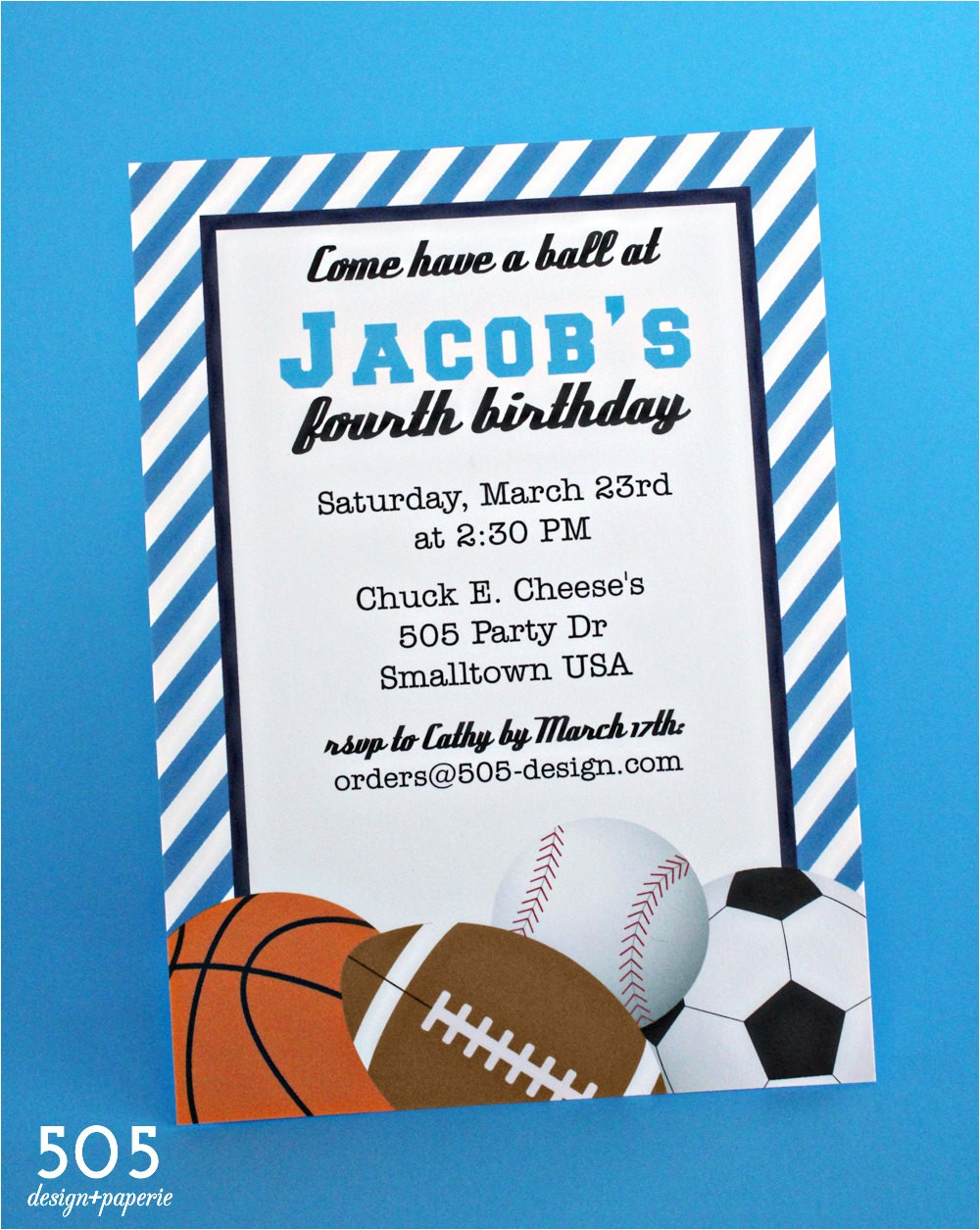 sports birthday invitation boys sports