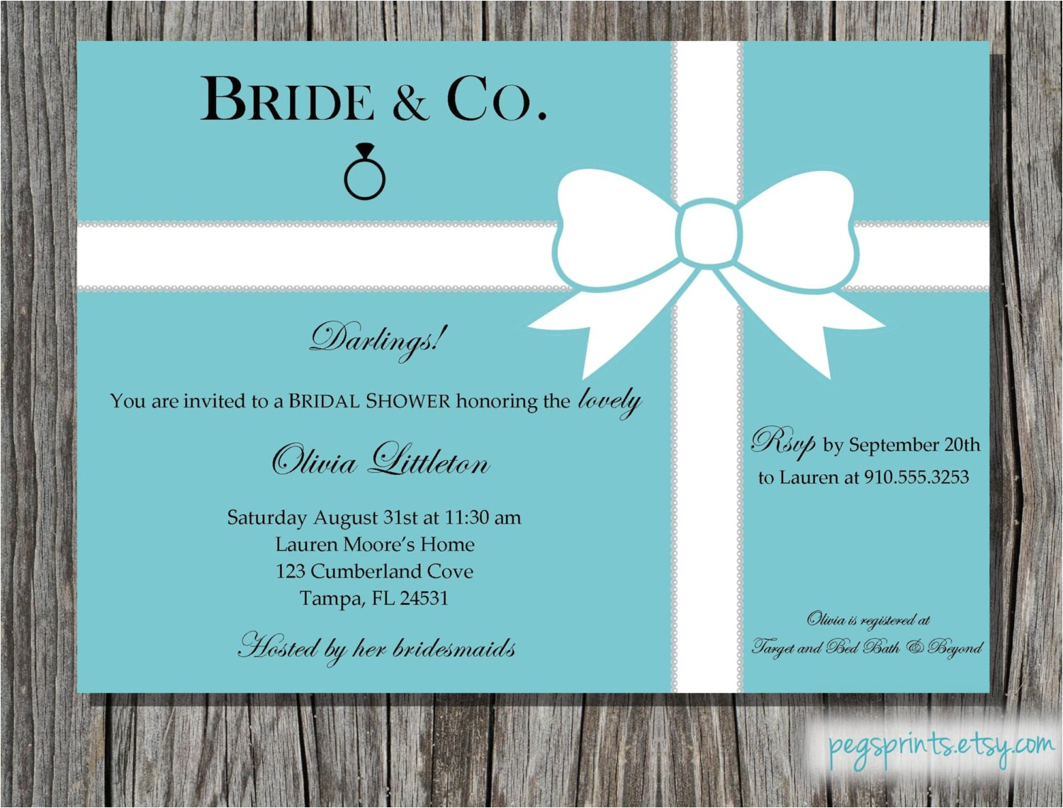 Breakfast at Tiffany S Bridal Shower Invitations Breakfast at Tiffany S Bridal Shower Invitation by Pegsprints