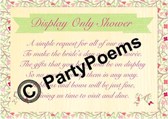 display bridal shower poem inserts used