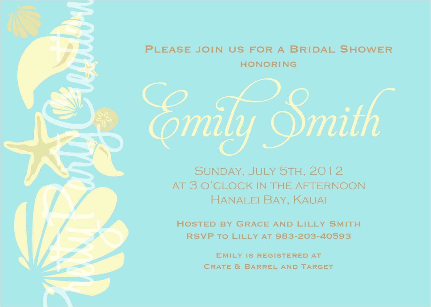 shell shower invitation wording and