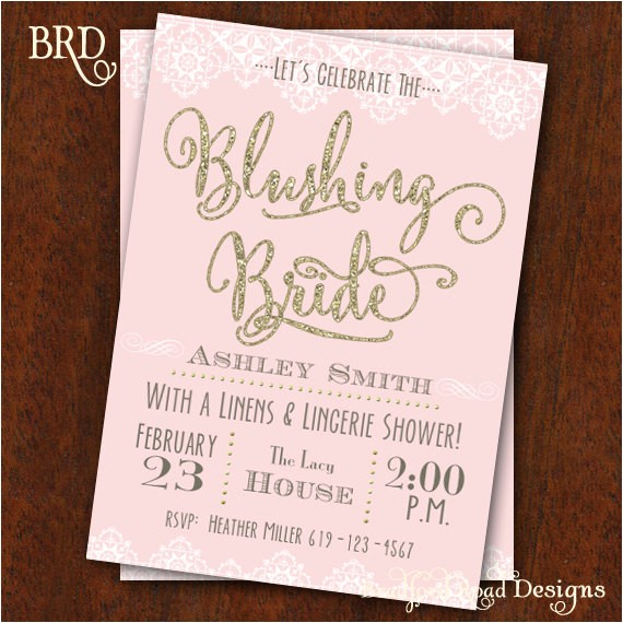 bridal shower invitation blushing bride