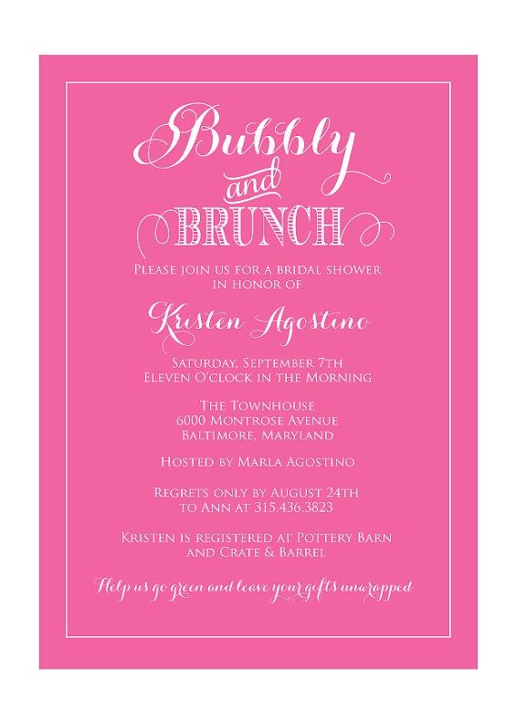 bridal shower invitations brunch