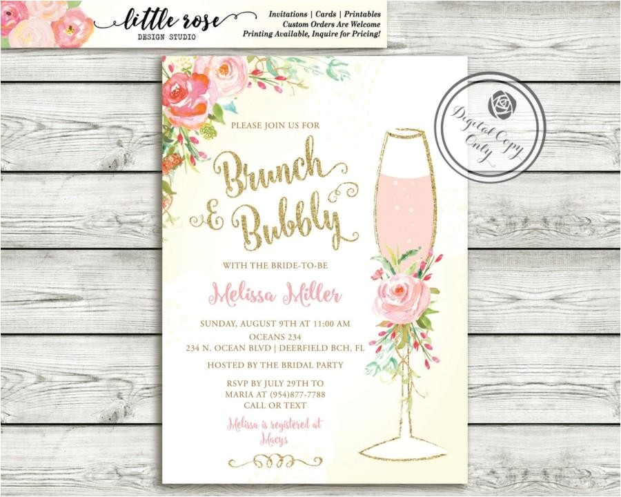 brunch and bubbly bridal shower invitation brunch invite wedding shower hand painted roses mimosa invitation printable lr1050