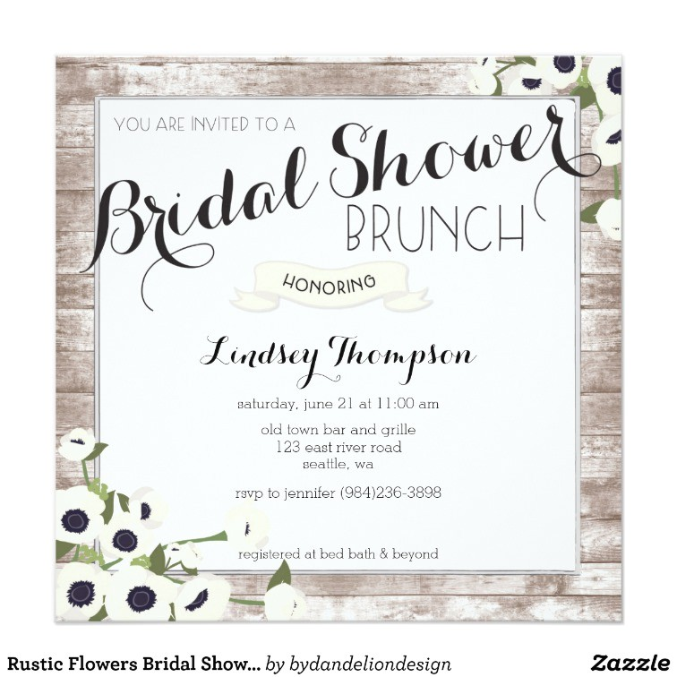 rustic flowers bridal shower brunch invitation 256419147462222252
