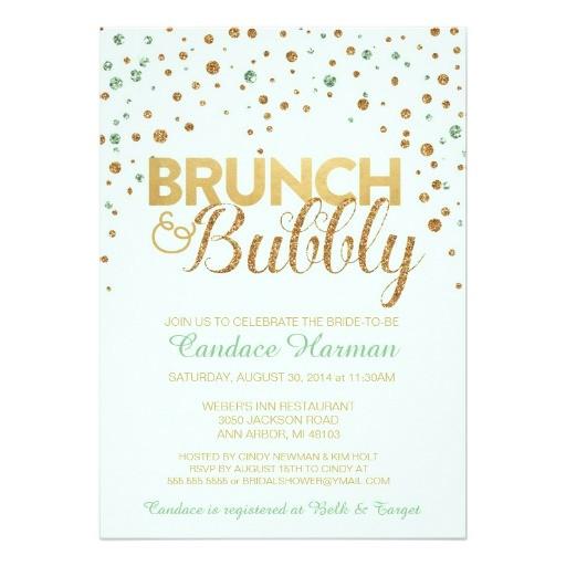 brunch bubbly glitter bridal shower invitation