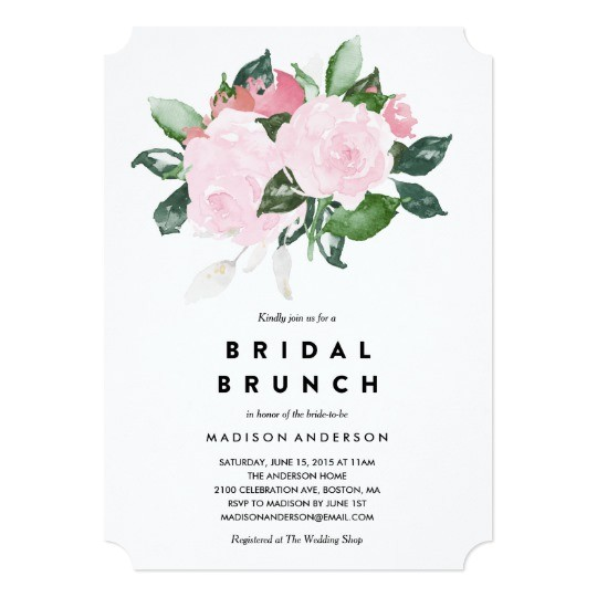 chic romance bridal shower brunch invitation