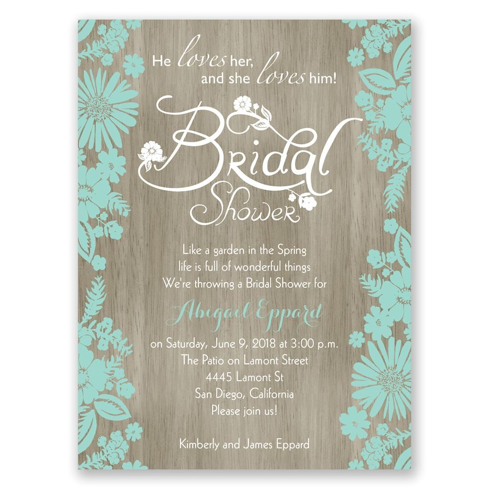 flowers and woodgrain petite bridal shower invitation