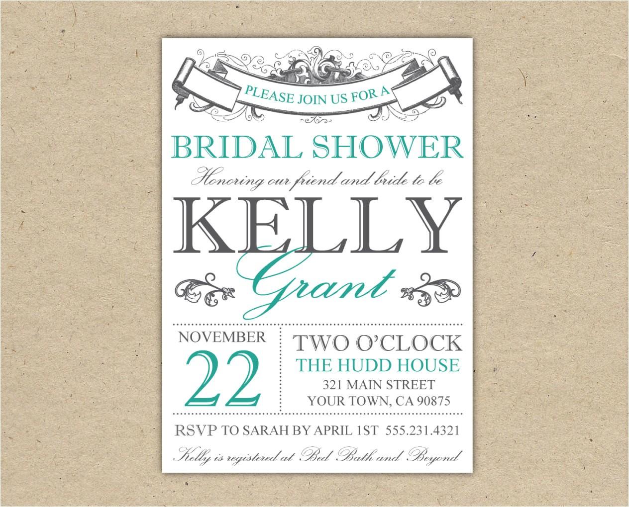 bridal shower invitation or baby shower