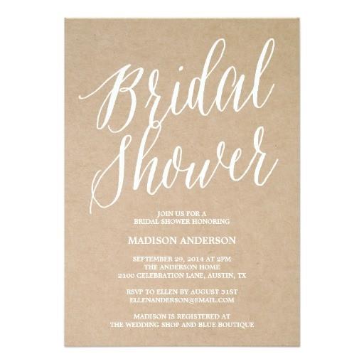 modern script bridal shower invitation