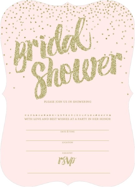 pink and gold glitter bridal shower invitation