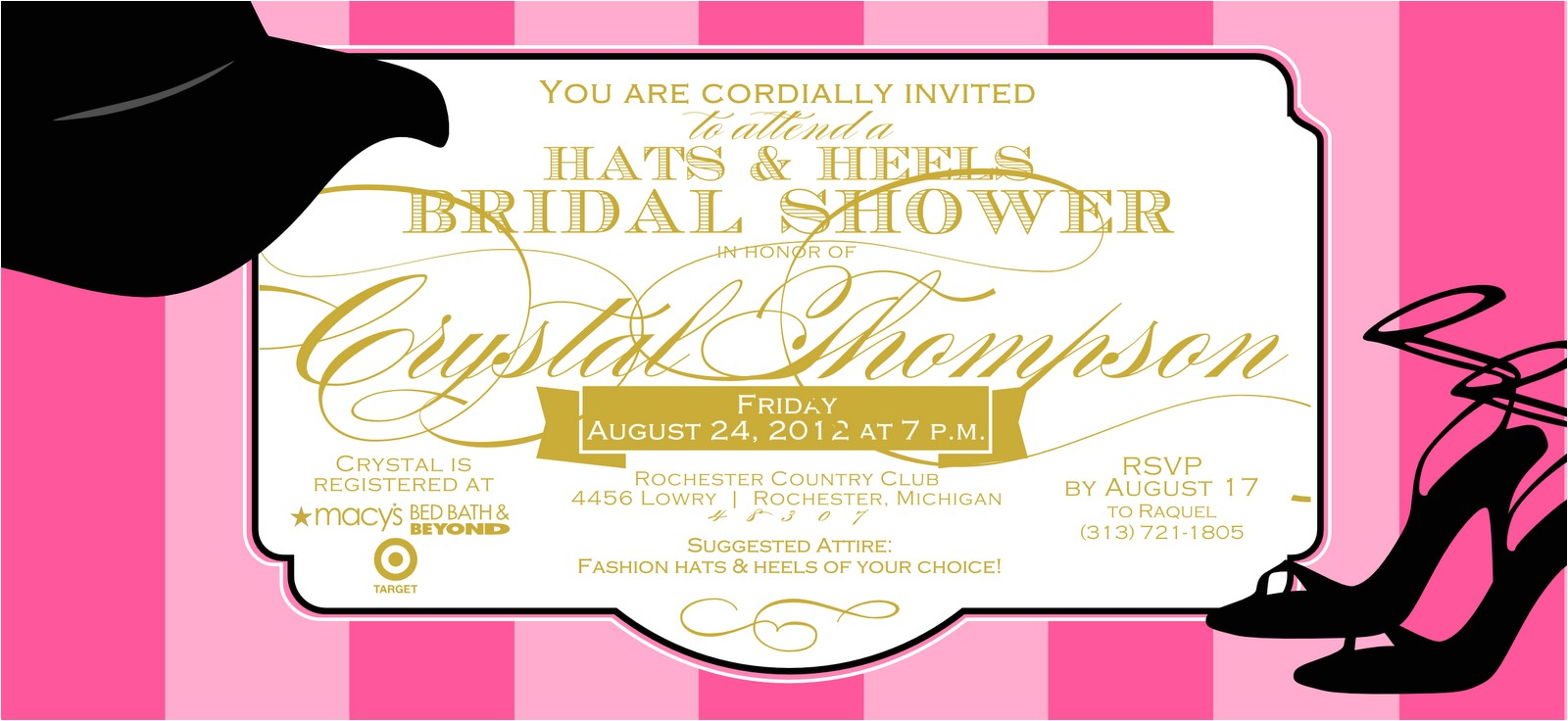bridal shower invitations hat theme