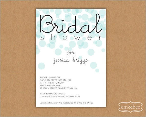 bridal shower invitation sample bubbles