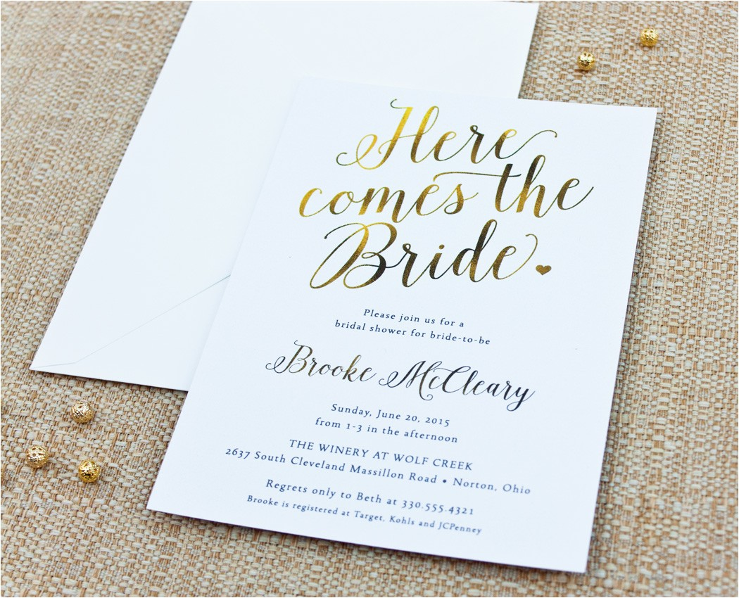 here es the bride calligraphy bridal shower invitation