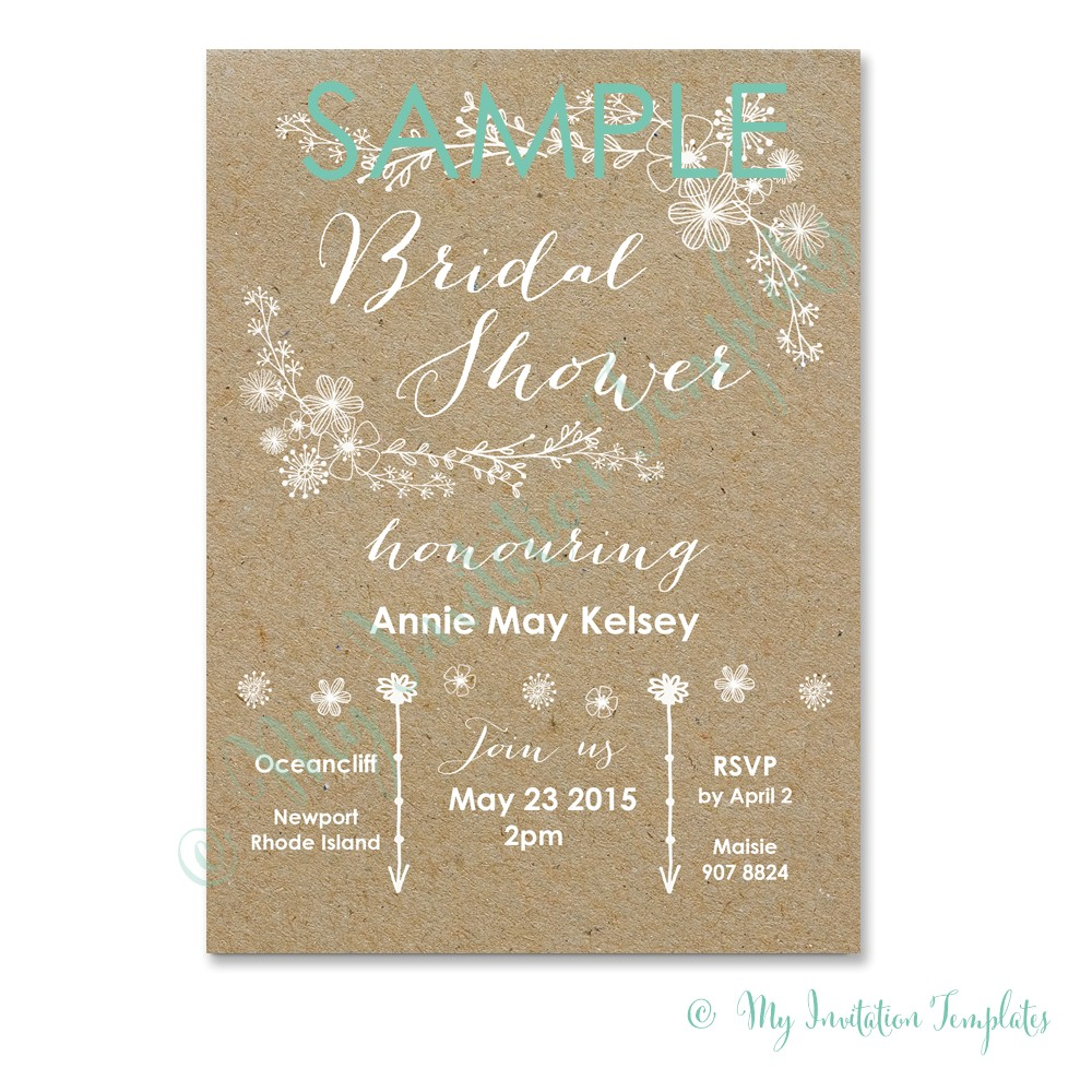 whimsical rustic bridal shower invitation templates free sample