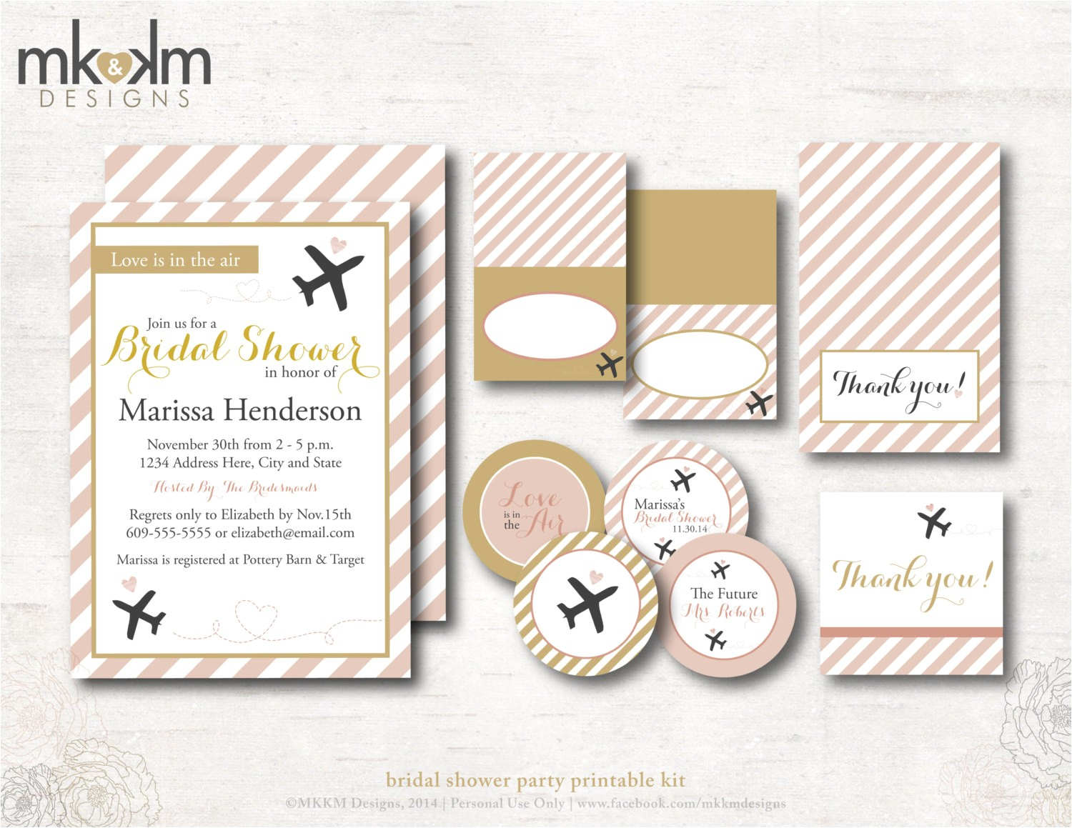 travel bridal shower invitation kit