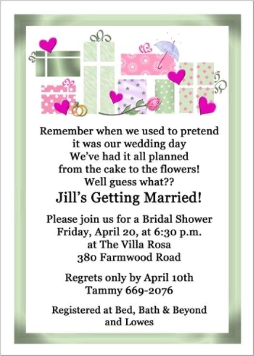 wedding shower invitations wording