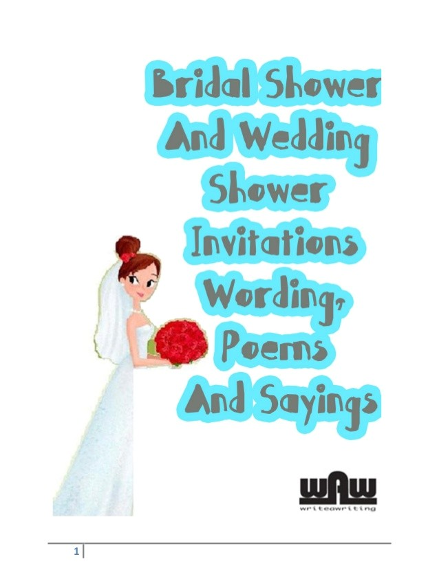 bridal shower and wedding shower invitations wording poems and sayings