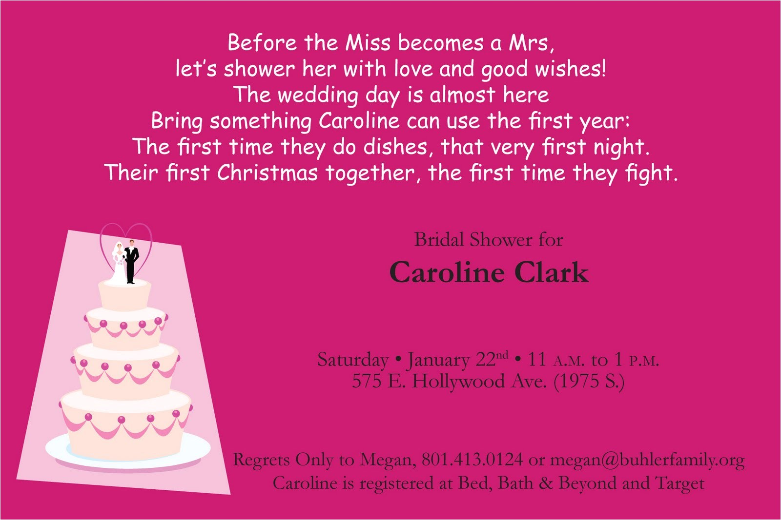 bridal shower invitation poems and