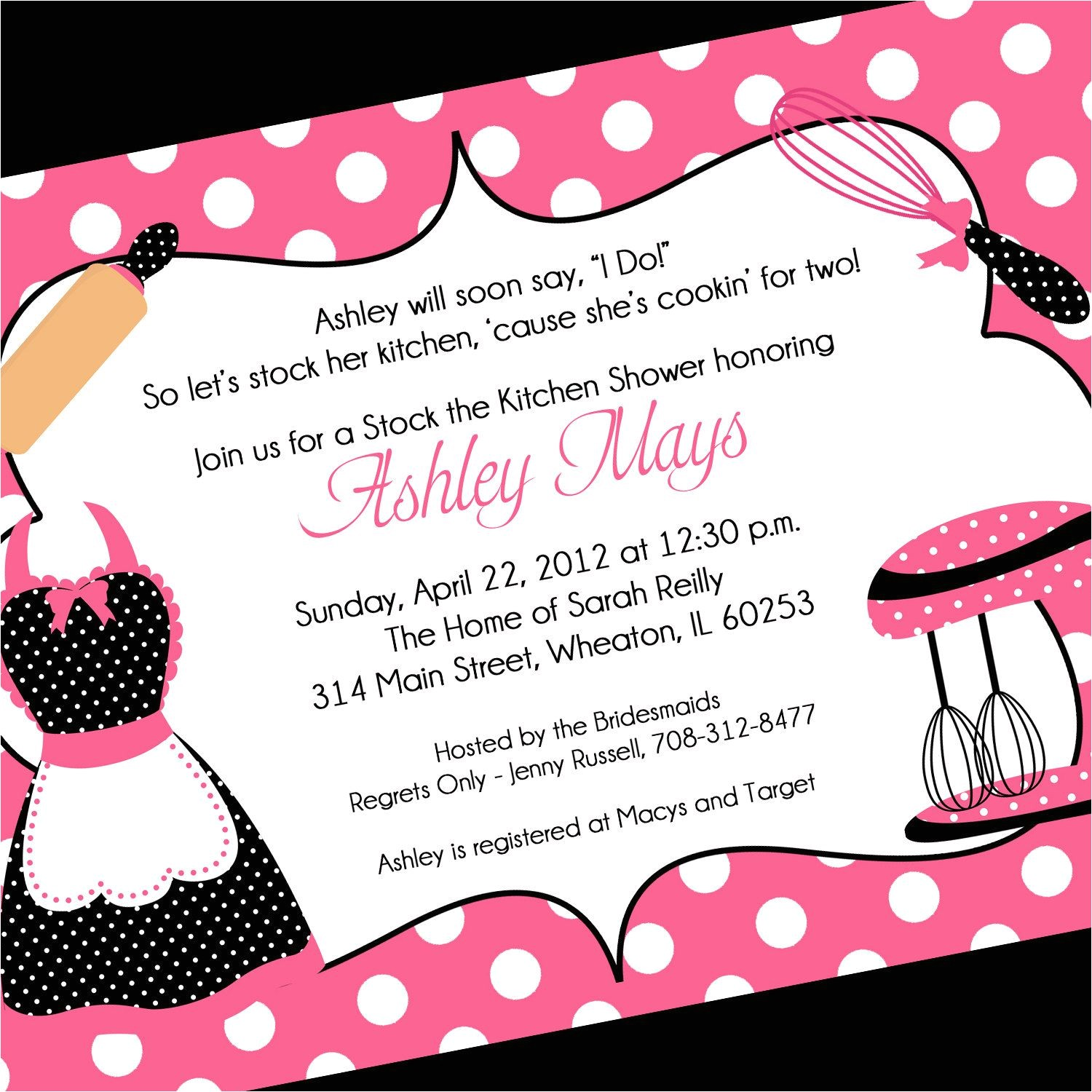 invitation wording for bridal party