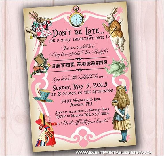 post alice in wonderland invitations printable free