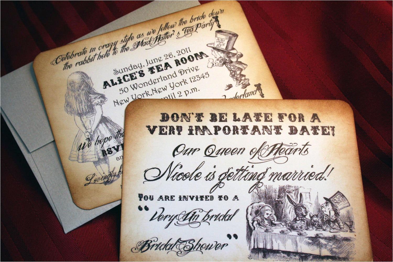 Bridal Shower Invitations Alice In Wonderland theme Alice In Wonderland Invitations for Wedding Bridal Shower Baby