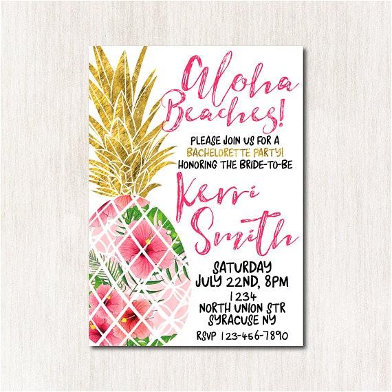aloha beaches bridal shower invitation