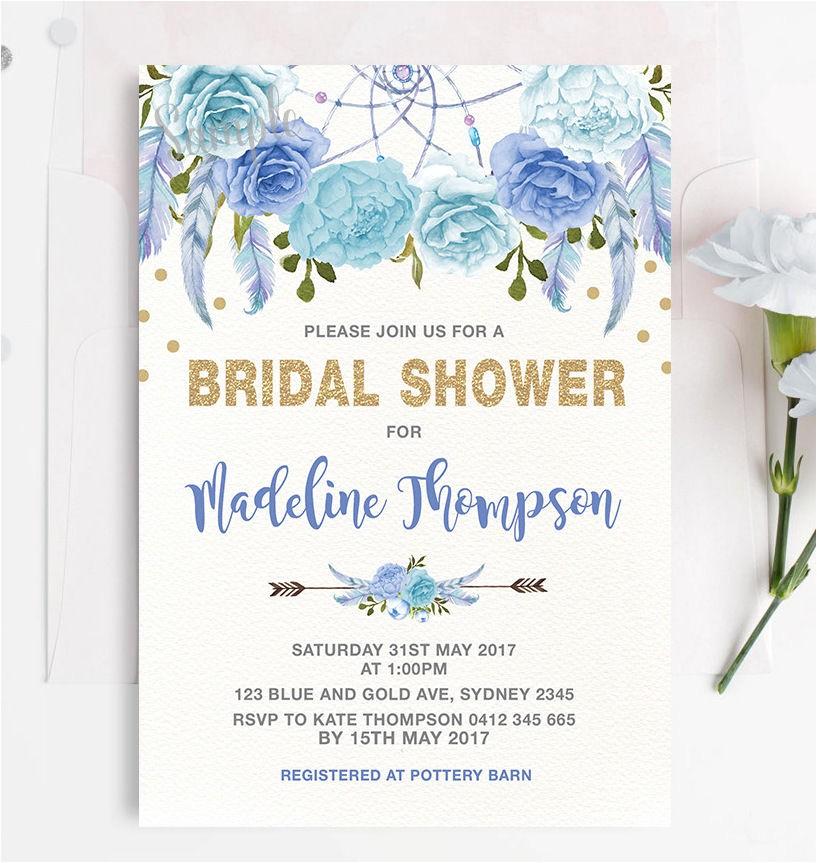 Boho Blue Gold Floral Bridal Shower Invitation Hens