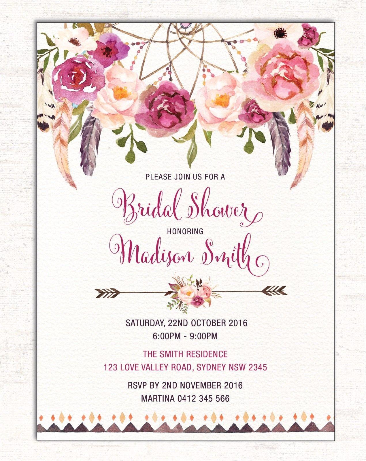 Boho BRIDAL SHOWER Invitation Floral Invite Dreamcatcher Hens