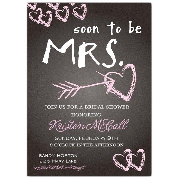 Chalkboard Love Bridal Shower Invitations p 639 57 WD81