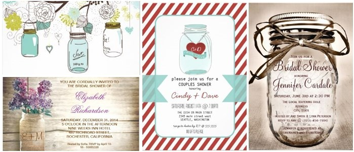 bridal shower invitations mason jar theme