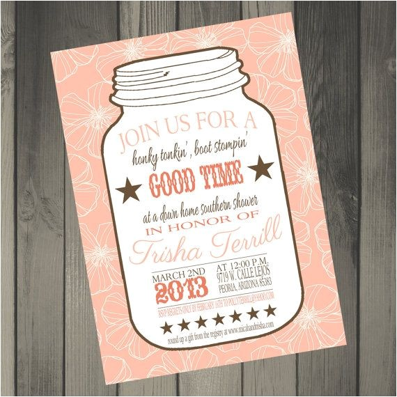 bridal shower invitations mason jar