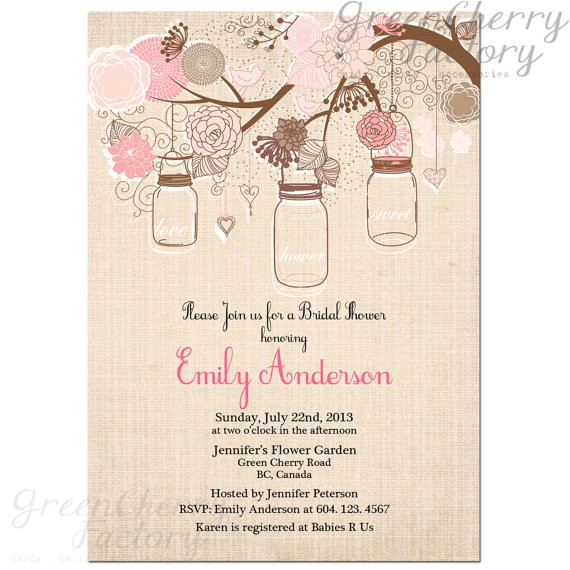 etsy bridal shower invitations mason jar