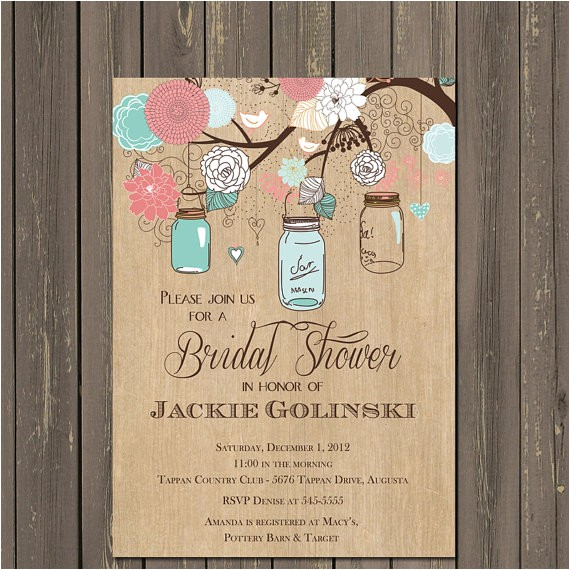 mason jar invitation mason jar bridal