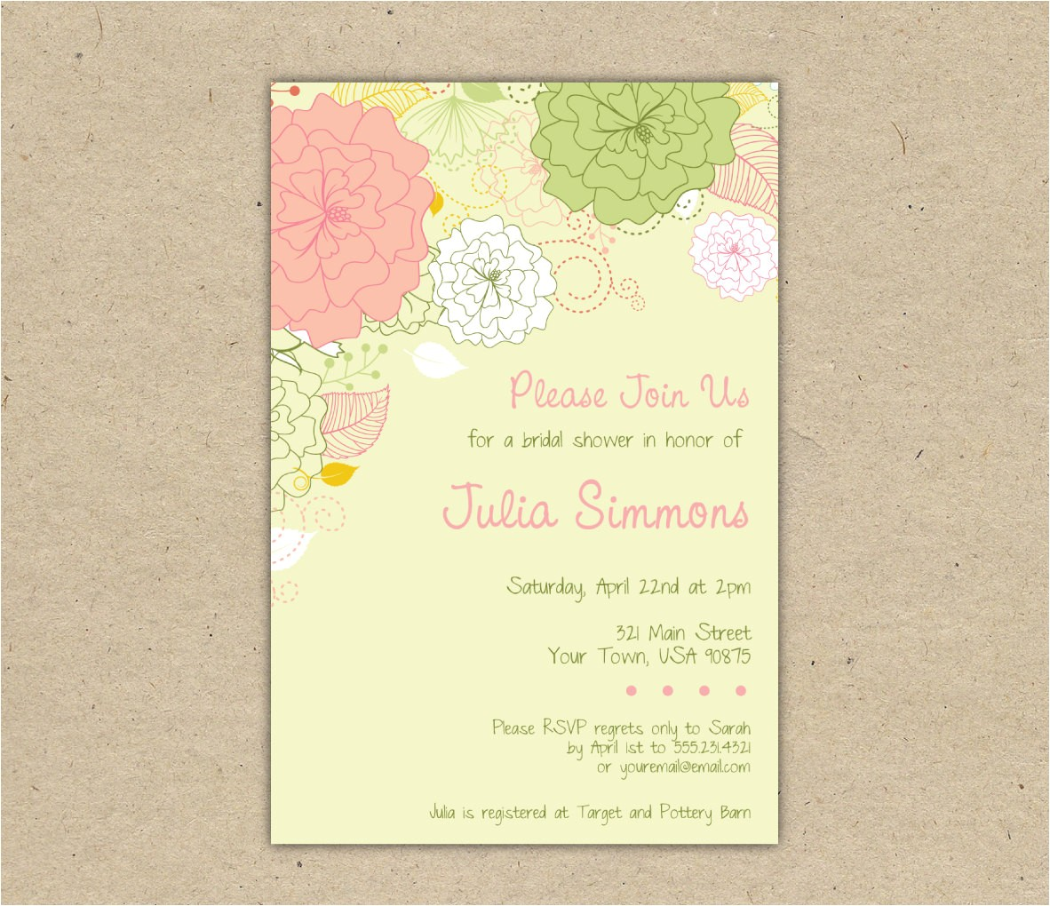 printable wedding shower invitations template