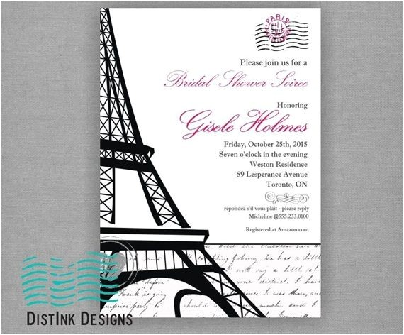 bridal shower invitations paris theme