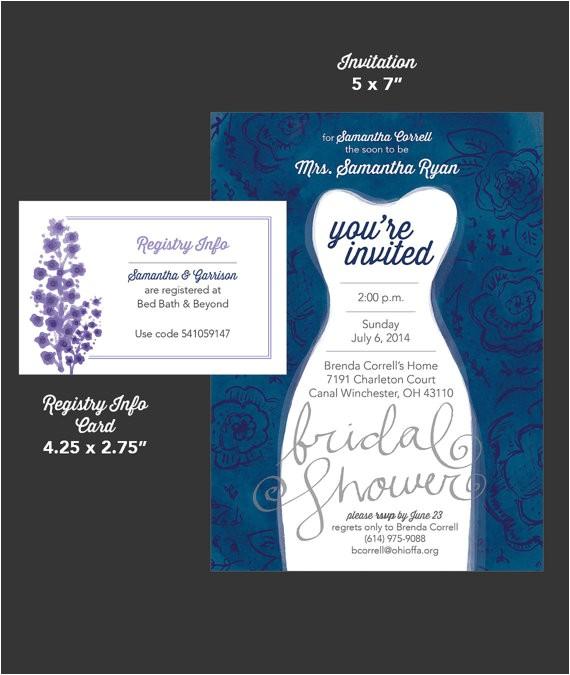 Bridal Shower Invitations Registry Information Bridal Shower Invitation and Registry Info Card by
