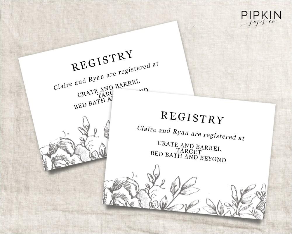 wedding registry card wedding info card