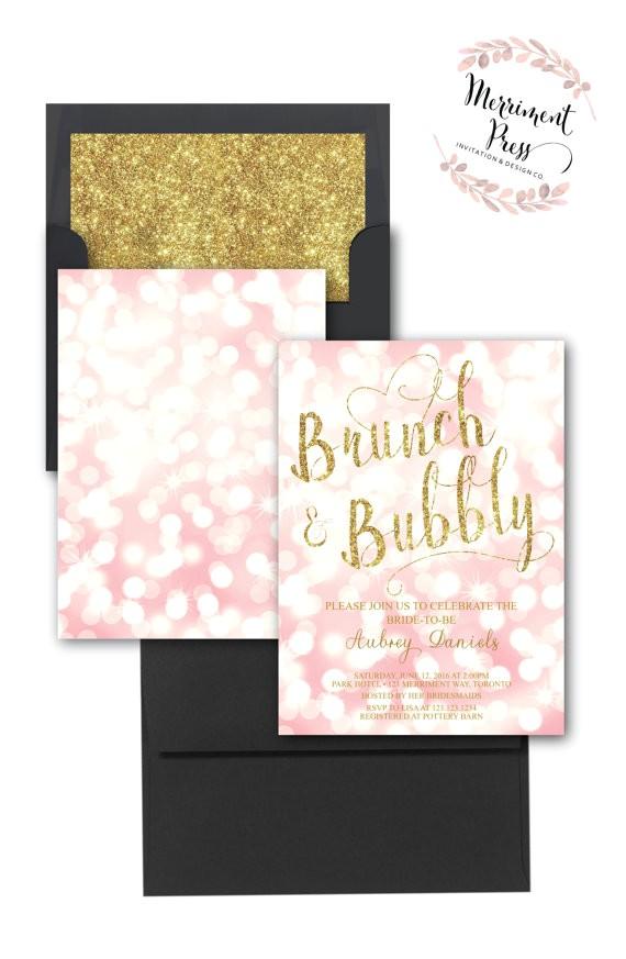 brunch bubbly invitation bokeh pink blush